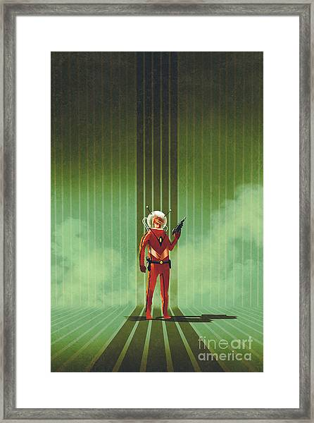 Super Hero In Red Suit Holding Gun Over Framed Print by Tithi Luadthong