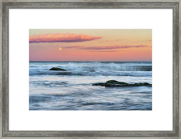 Super Moon And Sunset At Sozopol Town Beach Framed Print