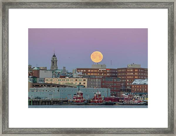 Super Snow Moon Over Portland Framed Print