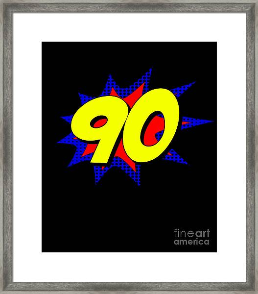 Superhero 90 Years Old Birthday Framed Print