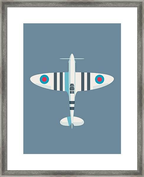 Supermarine Spitfire Fighter Aircraft - Stripe Slate Framed Print
