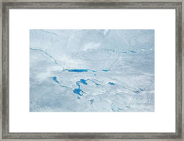 Supra Glacial Lakes Over The Ice Sheet Framed Print