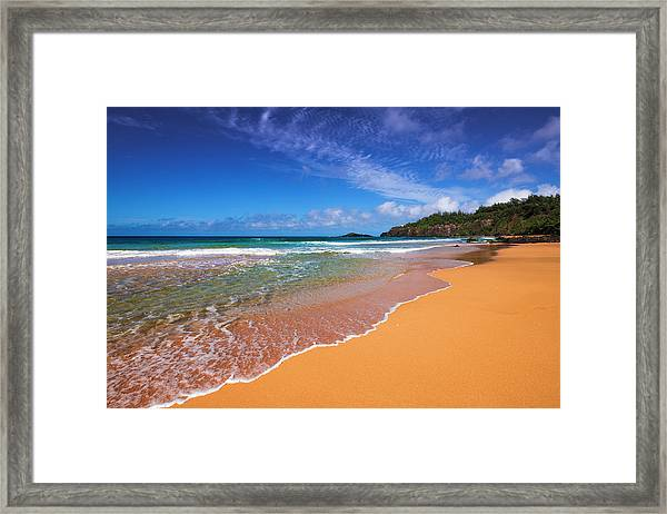 Surf And Sand On Secret Beach (kauapea Framed Print by Russ Bishop