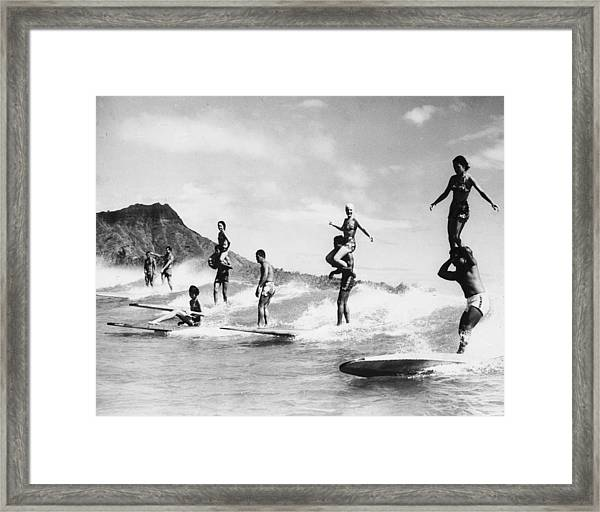 Surf Stunts Framed Print by Keystone
