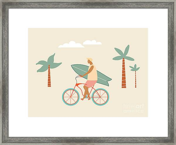 Surfer Bicycle Rider With Surfboard On Framed Print