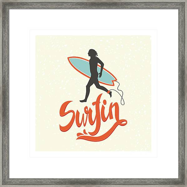 Surfing Calligraphy In Vector. Surfing Framed Print