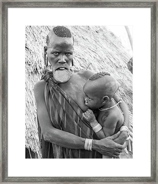 Mursi Mother And Child Framed Print