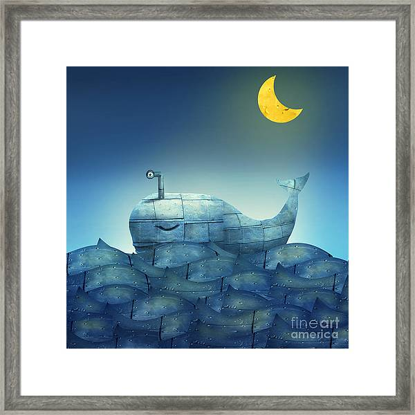 Surreal Illustration Of A Mechanical Framed Print by Valentina Photos