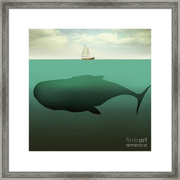 Surreal Illustration Of Little Sailboat Framed Print by Valentina Photos