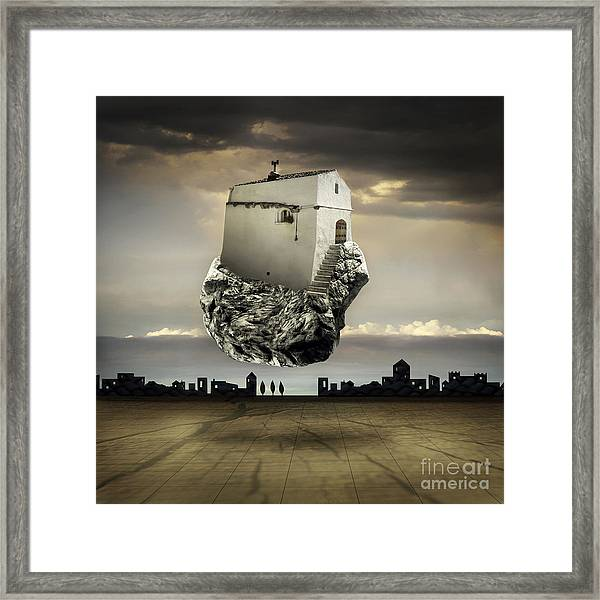 Surreal Landscape With A Flying House Framed Print
