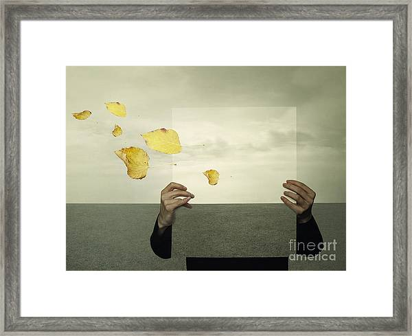Surreal Landscape With A Person Who Framed Print
