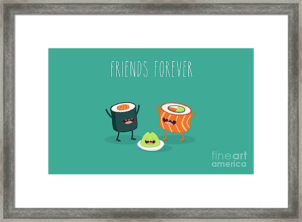 Sushi Roll And Wasabi. Japanese Food Framed Print