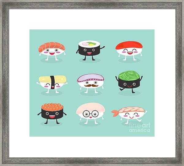Sushi Set, Cute Sushi Set, Japanese Framed Print