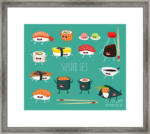 Sushi Set. Soy Sauce And Sushi Roll Framed Print