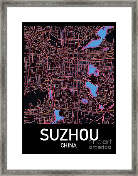 Suzhou City Map Framed Print