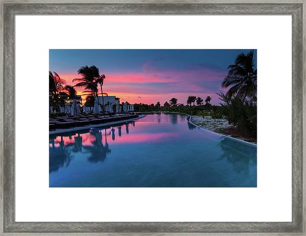 Swimming Pool Sunset Framed Print