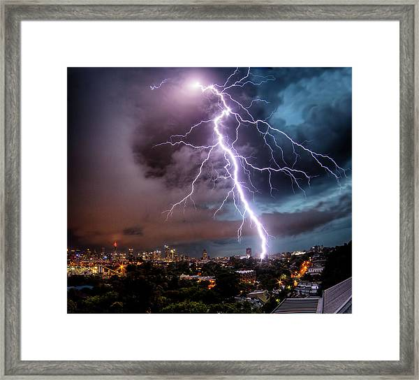 Sydney Summer Lightning Strike Framed Print