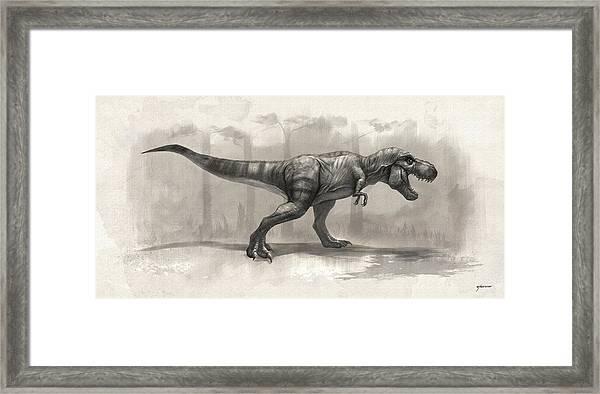 T-rex Drawing Framed Print by Steve Goad