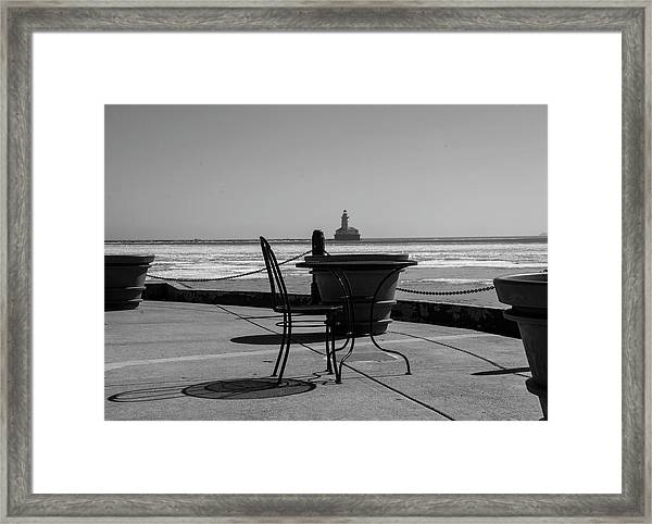 Table For One Bw Framed Print