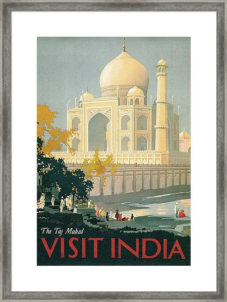 Taj Mahal Travel Poster Framed Print
