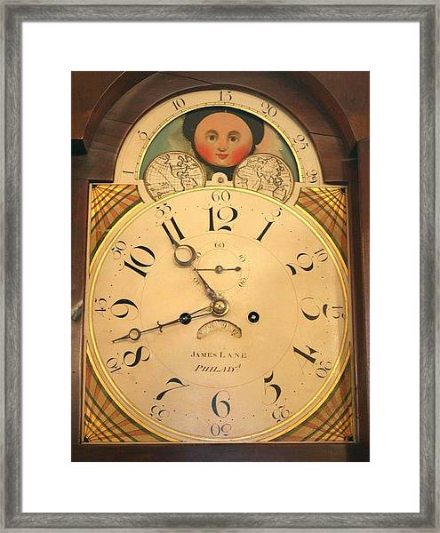 Tall Case Clock Face, Around 1816 Framed Print