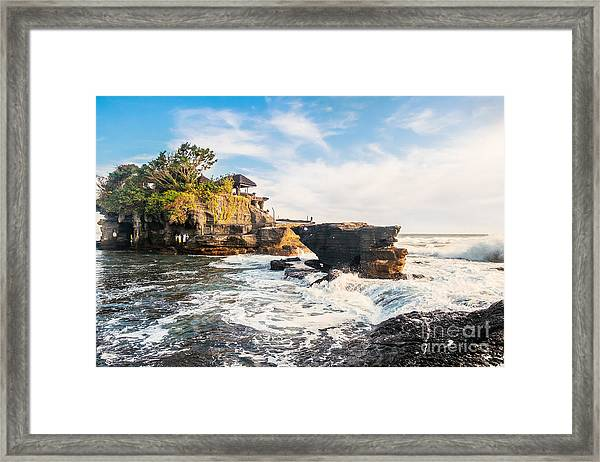 Tanah Lot Water Temple In Bali Framed Print