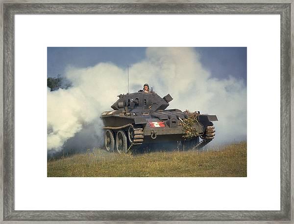 Tank In Action Framed Print