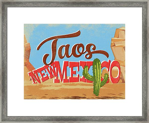 Taos New Mexico Cartoon Desert Framed Print