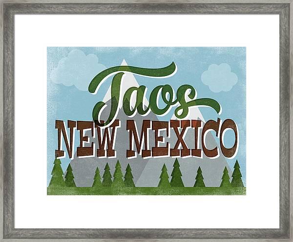 Taos New Mexico Retro Mountains Framed Print