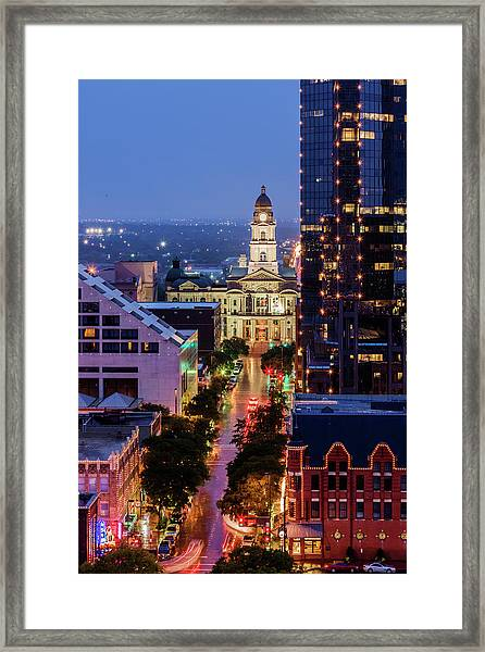 Tarrant County Courthouse Looking Down Framed Print
