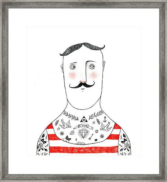 Tattoed Man Pencil Drawing Framed Print