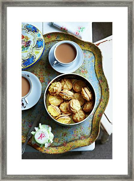 Tea And Home Made Biscuits On Tray Framed Print