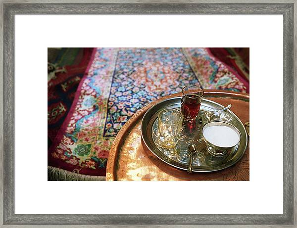 Tea Tray With Sugar On Table, Elevated Framed Print