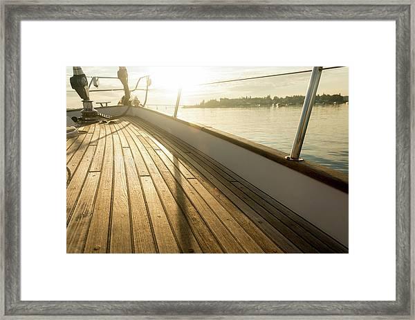 Teak Deck Of 62 Ft Sailboat Framed Print