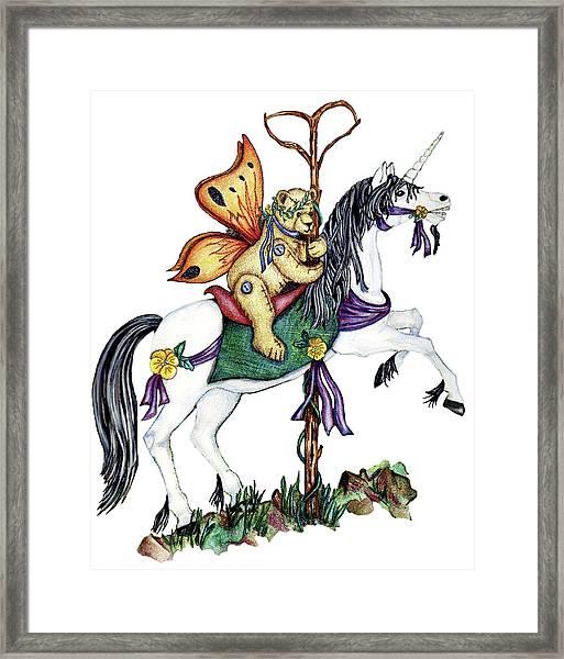 Teddy's Unicorn Framed Print