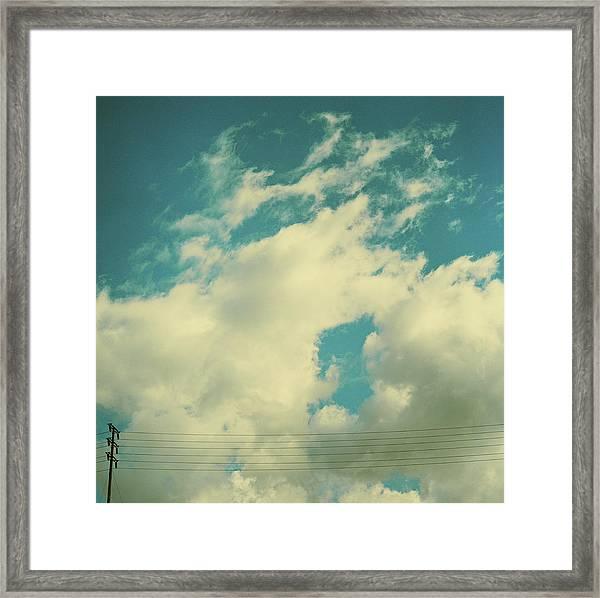 Telephone Lines Against Cloudy Blue Sky Framed Print by Zen Sekizawa