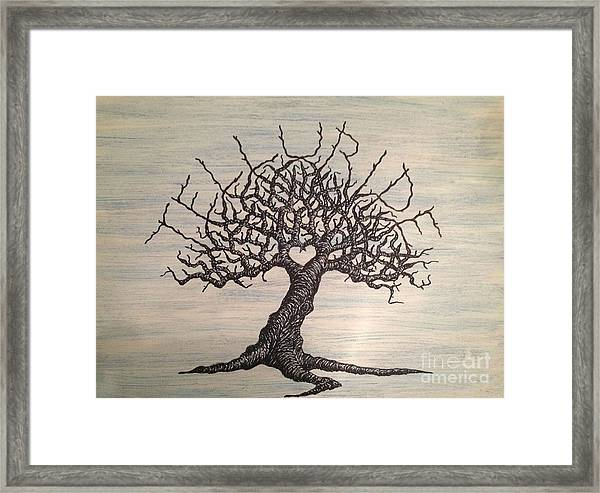 Framed Print featuring the drawing Telluride Love Tree by Aaron Bombalicki