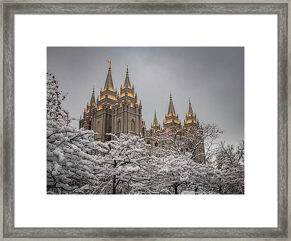 Temple In The Snow Framed Print