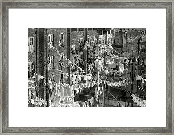 Tenement Laundry Day - New York City C. 1930 Framed Print
