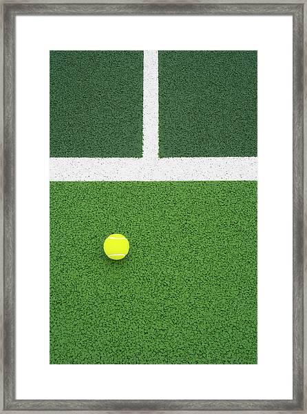 Tennis Ball On Court Framed Print