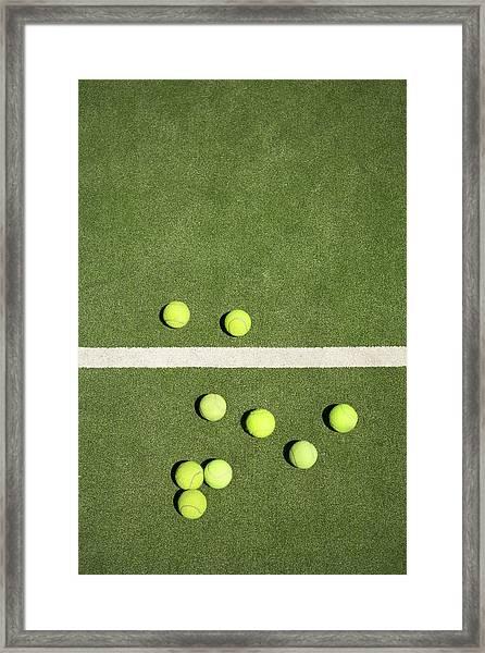 Tennis Balls On Court Framed Print