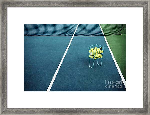 Tennis Court With Tennis Balls In Framed Print