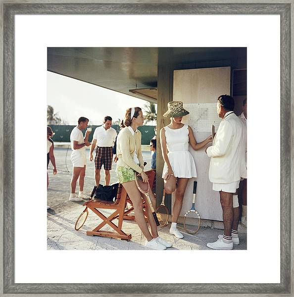 Tennis In The Bahamas Framed Print by Slim Aarons