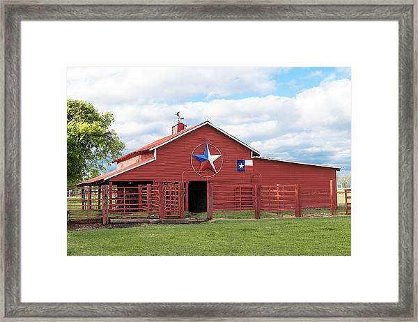 Texas Red Barn Framed Print