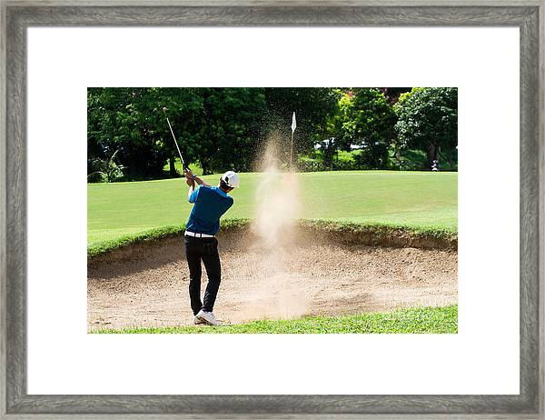 Thai Young Man Golf Player In Action Framed Print