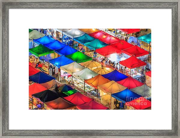 Thailand Night Market, Street Night Framed Print