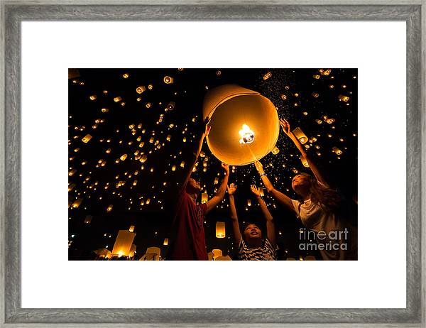 Thais Family Release Sky Lanterns To Framed Print by Patrick Foto