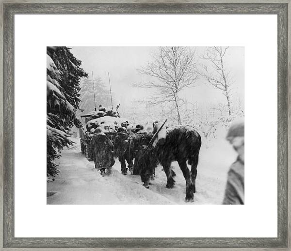The 82nd In The Snow Framed Print