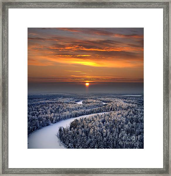The Aerial View Of Snow-covered Winter Framed Print