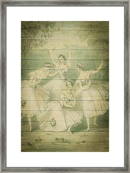 The Ballet Dancers Shabby Chic Vintage Style Portrait Framed Print